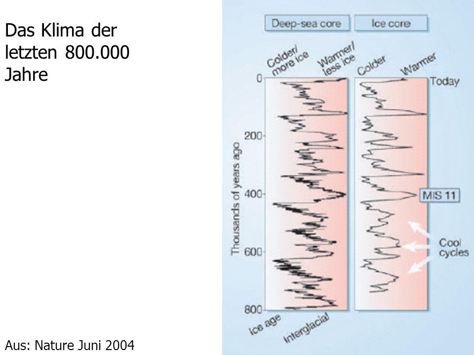 Das Klima der letzten 800.000 Jahre