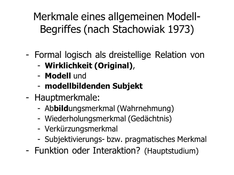 Merkmale eines allgemeinen Modell-Begriffes (nach Stachowiak 1973)