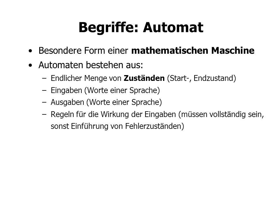 Begriffe: Automat Besondere Form einer mathematischen Maschine