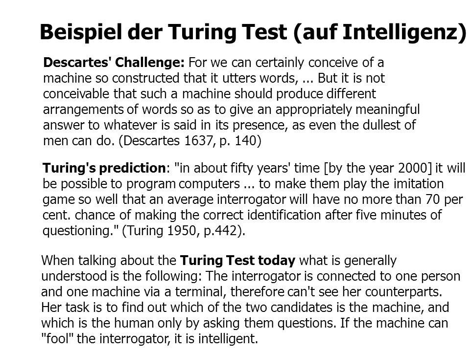 Beispiel der Turing Test (auf Intelligenz)