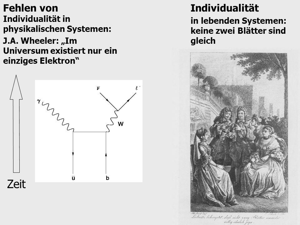 Zeit Fehlen von Individualität in physikalischen Systemen: