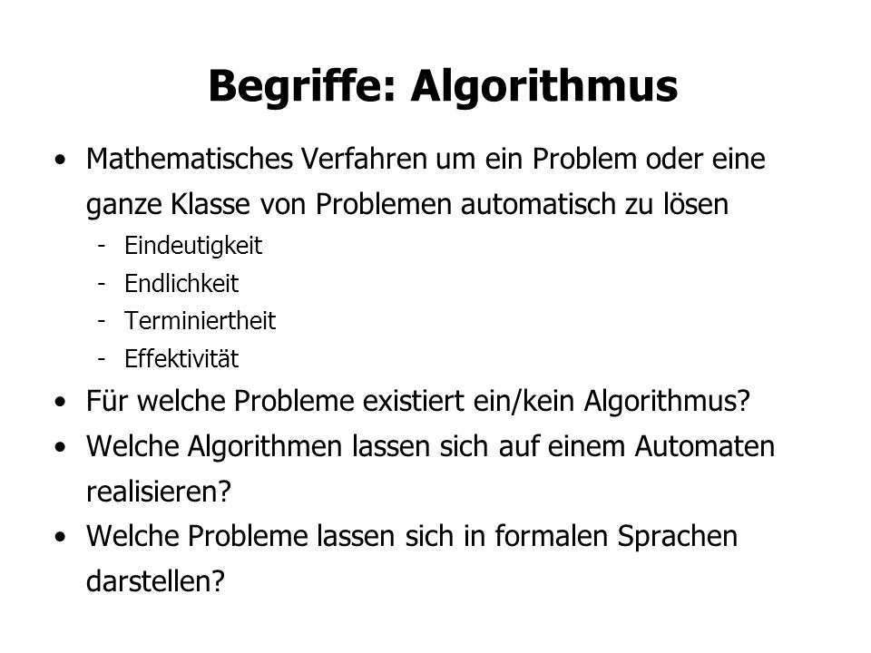 Begriffe: Algorithmus