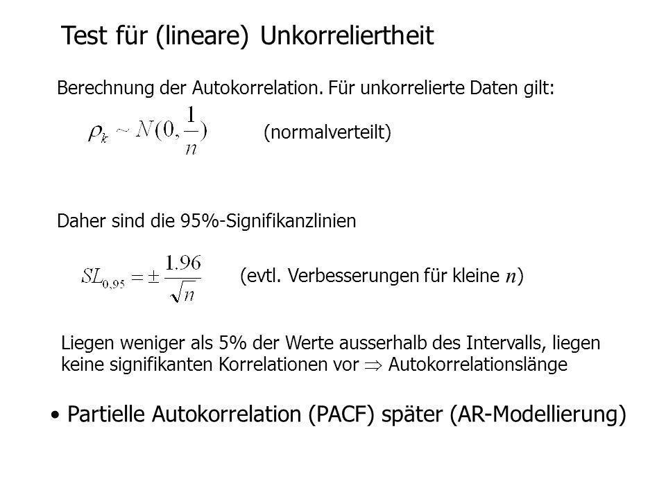 Test für (lineare) Unkorreliertheit