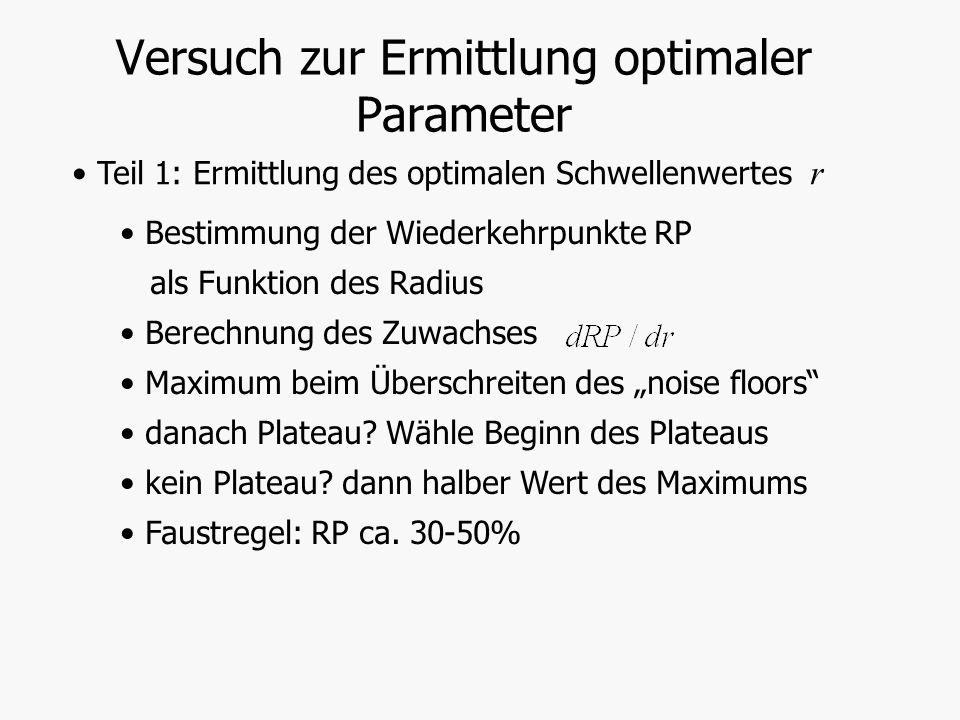 Versuch zur Ermittlung optimaler Parameter