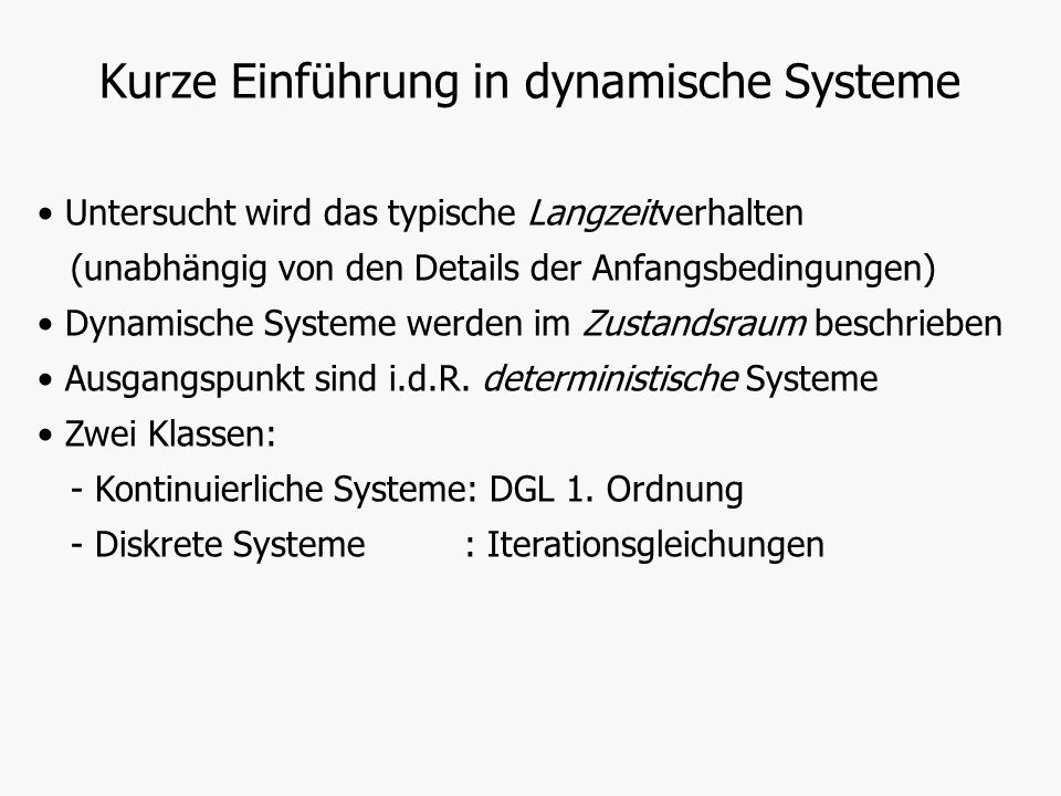 Kurze Einführung in dynamische Systeme