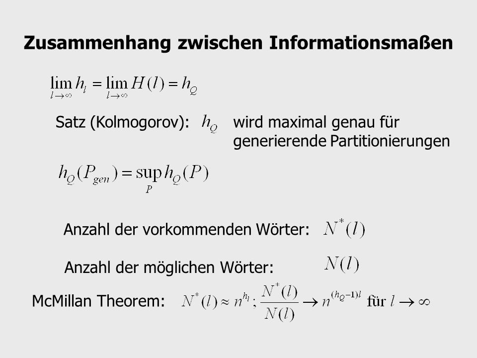 Zusammenhang zwischen Informationsmaßen