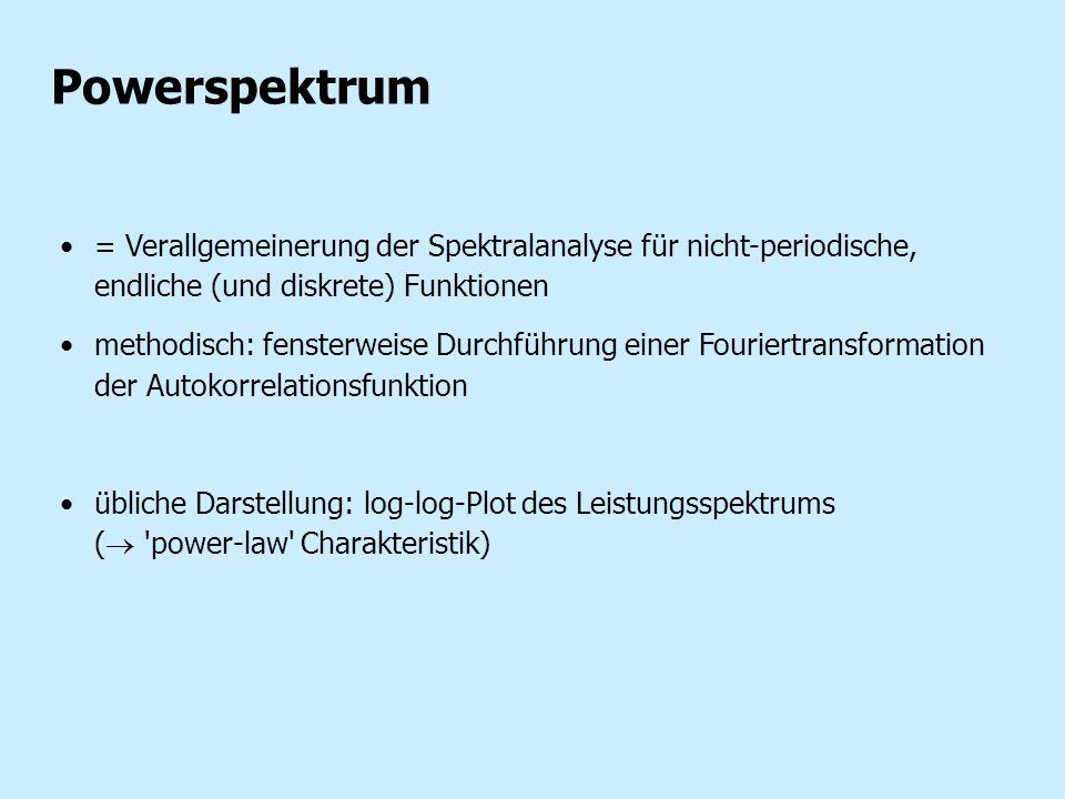 Powerspektrum = Verallgemeinerung der Spektralanalyse für nicht-periodische, endliche (und diskrete) Funktionen.