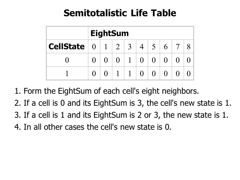 Semitotalistic Life Table