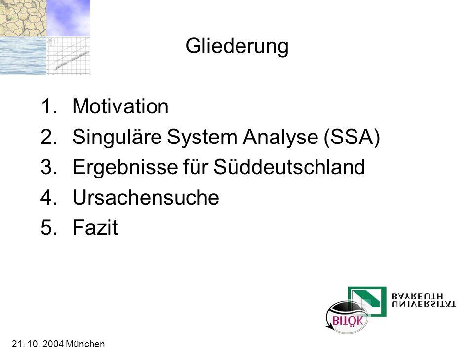 Singuläre System Analyse (SSA) Ergebnisse für Süddeutschland