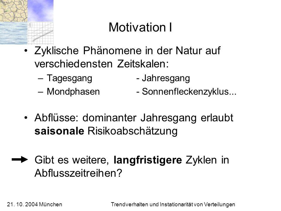 Motivation I Zyklische Phänomene in der Natur auf verschiedensten Zeitskalen: Tagesgang - Jahresgang.