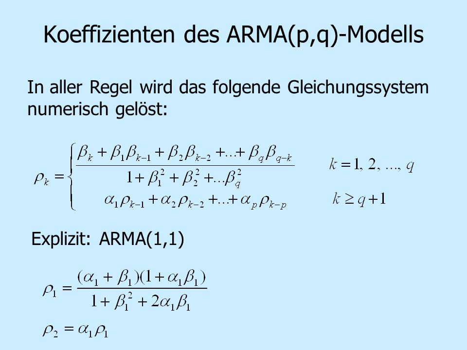 Koeffizienten des ARMA(p,q)-Modells