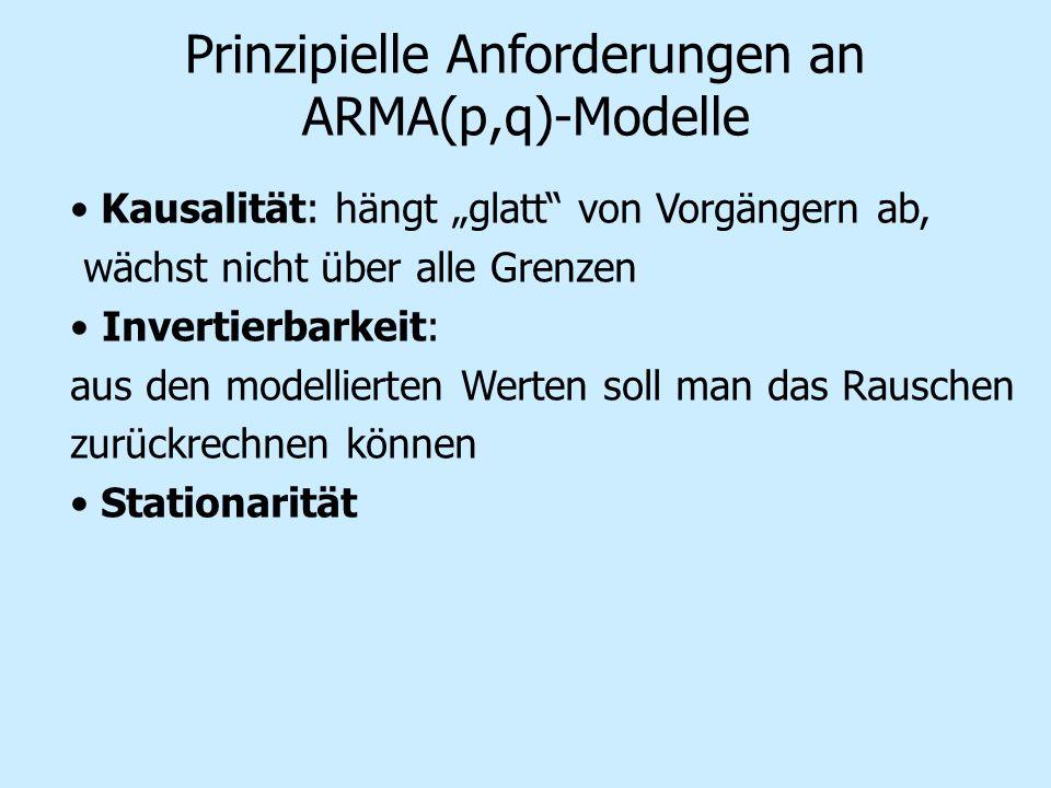 Prinzipielle Anforderungen an ARMA(p,q)-Modelle