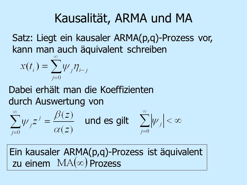 Kausalität, ARMA und MA Satz: Liegt ein kausaler ARMA(p,q)-Prozess vor, kann man auch äquivalent schreiben.