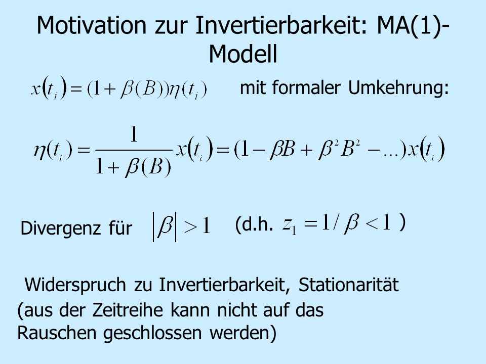Motivation zur Invertierbarkeit: MA(1)-Modell
