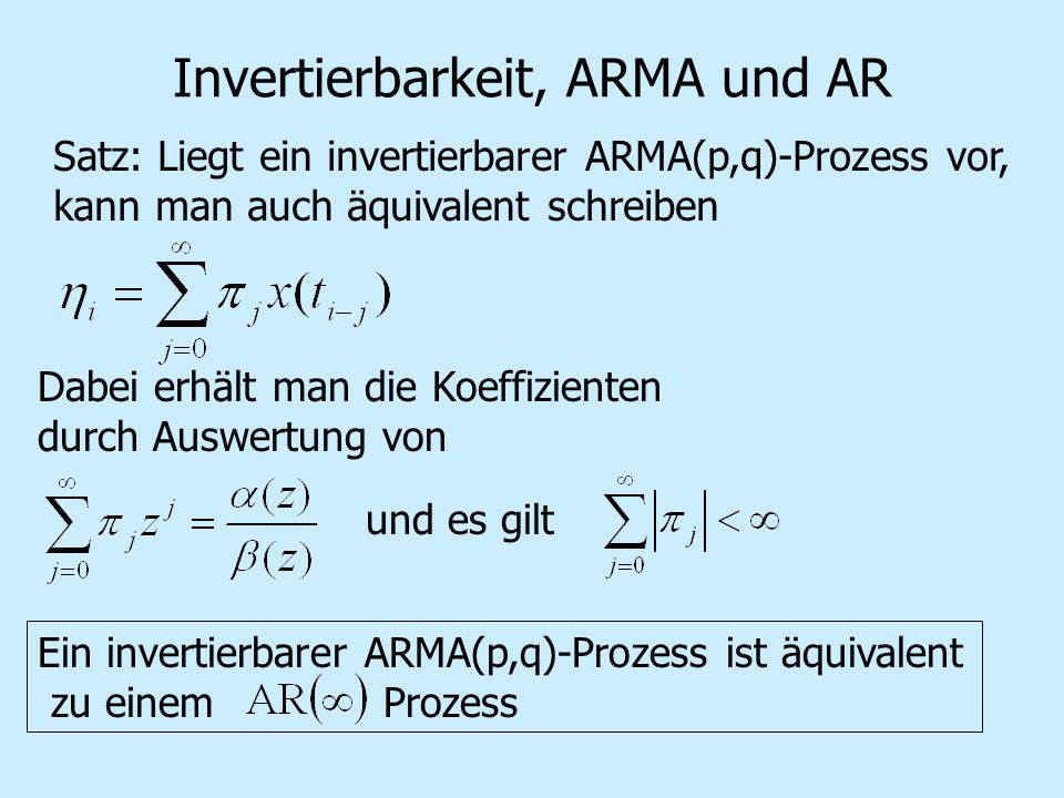 Invertierbarkeit, ARMA und AR