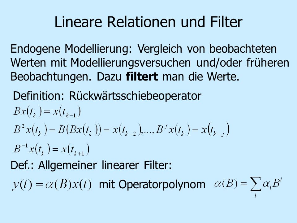 Lineare Relationen und Filter
