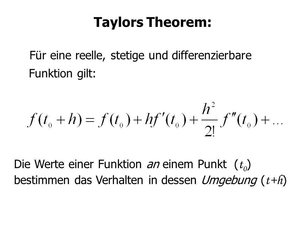 Taylors Theorem: Für eine reelle, stetige und differenzierbare Funktion gilt: