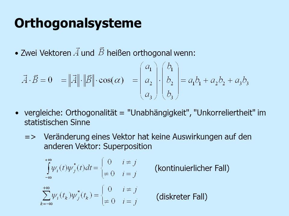 Orthogonalsysteme Zwei Vektoren und heißen orthogonal wenn: