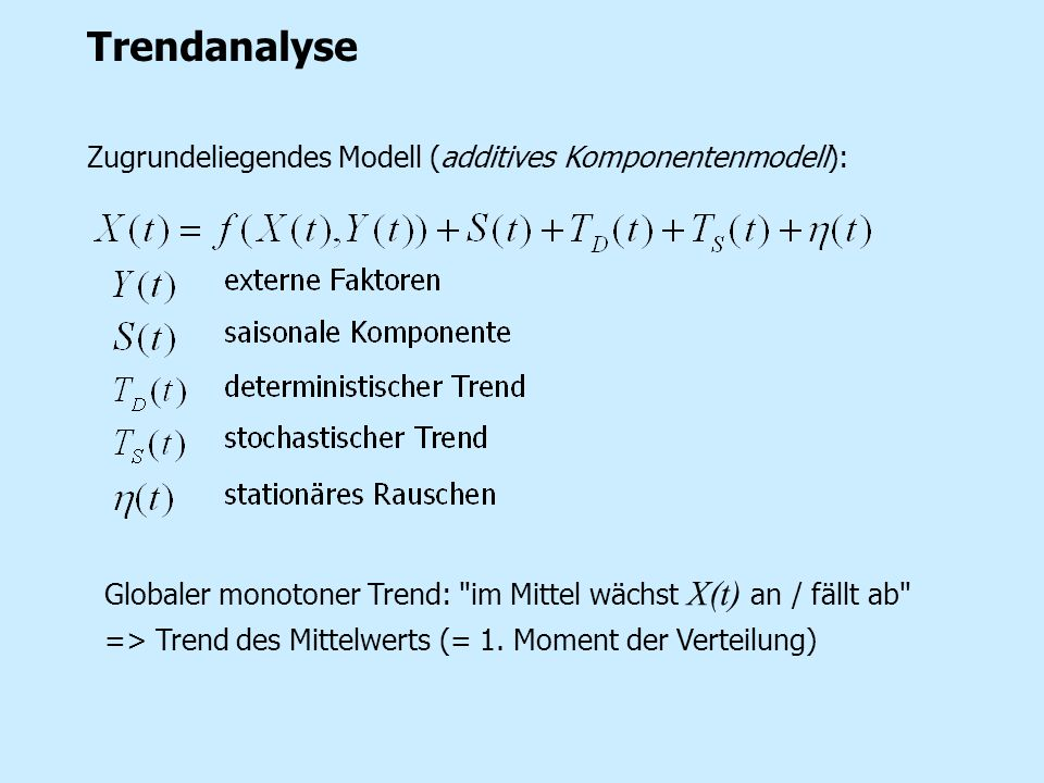 Trendanalyse Zugrundeliegendes Modell (additives Komponentenmodell):