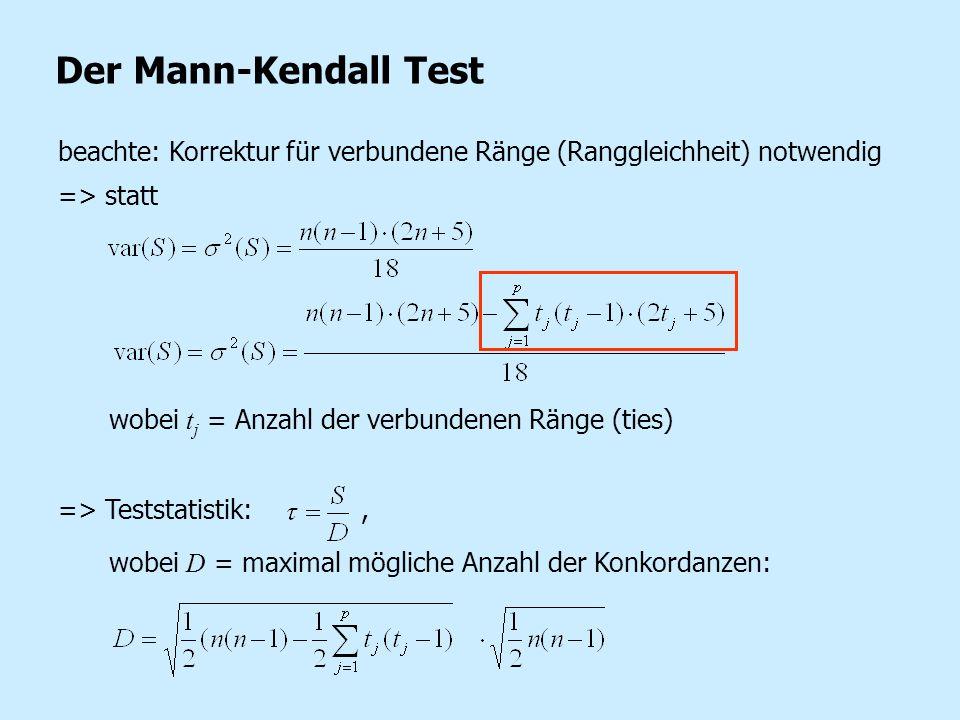 Der Mann-Kendall Test beachte: Korrektur für verbundene Ränge (Ranggleichheit) notwendig. => statt.
