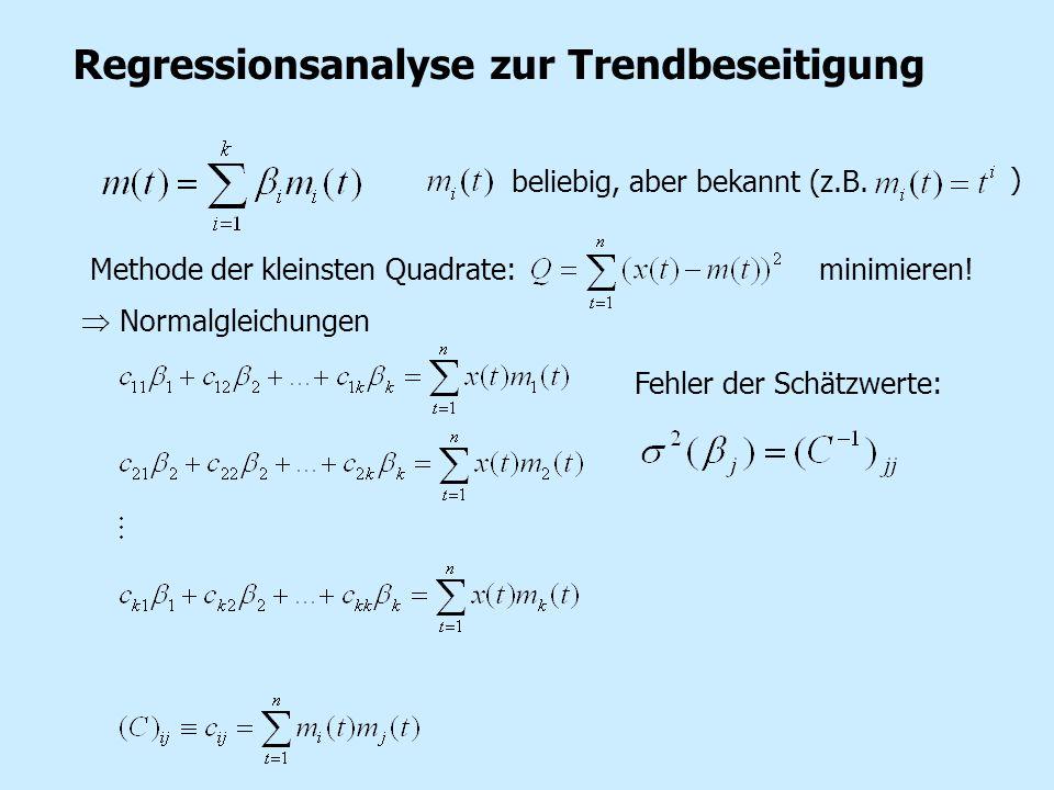 Regressionsanalyse zur Trendbeseitigung