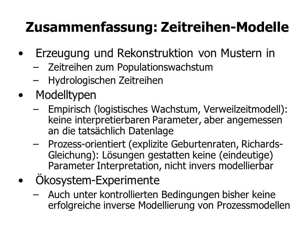 Zusammenfassung: Zeitreihen-Modelle