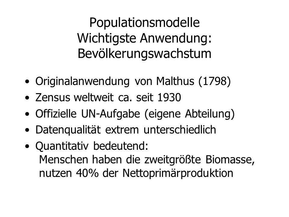 Populationsmodelle Wichtigste Anwendung: Bevölkerungswachstum