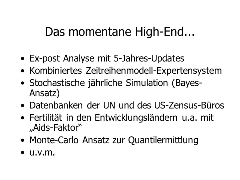 Das momentane High-End...