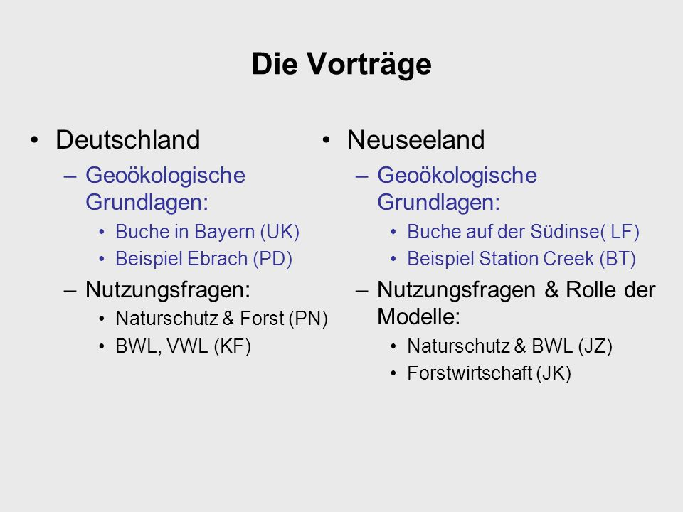 Die Vorträge Deutschland Neuseeland Geoökologische Grundlagen: