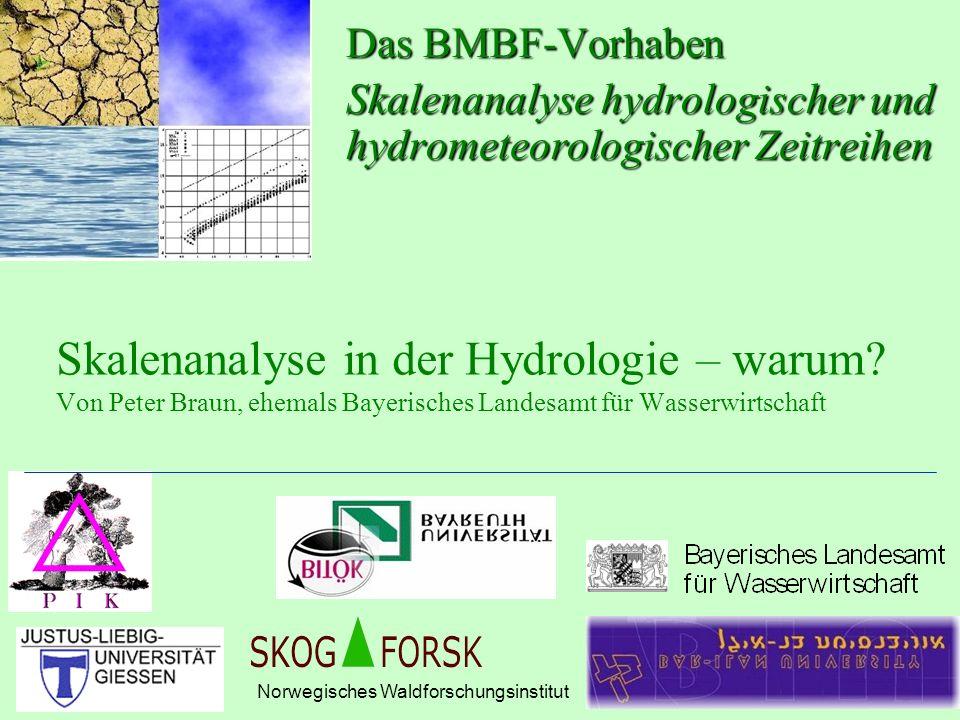 Das BMBF-Vorhaben Skalenanalyse hydrologischer und hydrometeorologischer Zeitreihen.