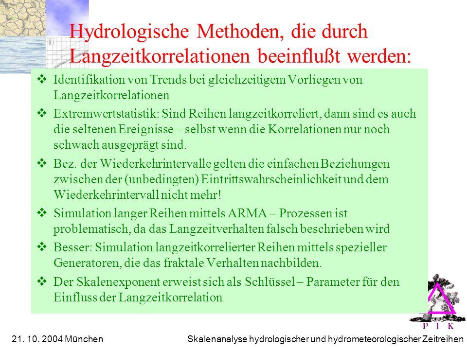 Hydrologische Methoden, die durch Langzeitkorrelationen beeinflußt werden: