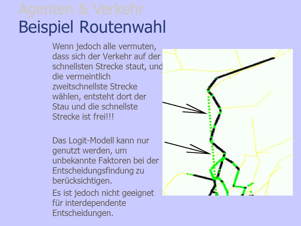 Beispiel Routenwahl Agenten & Verkehr