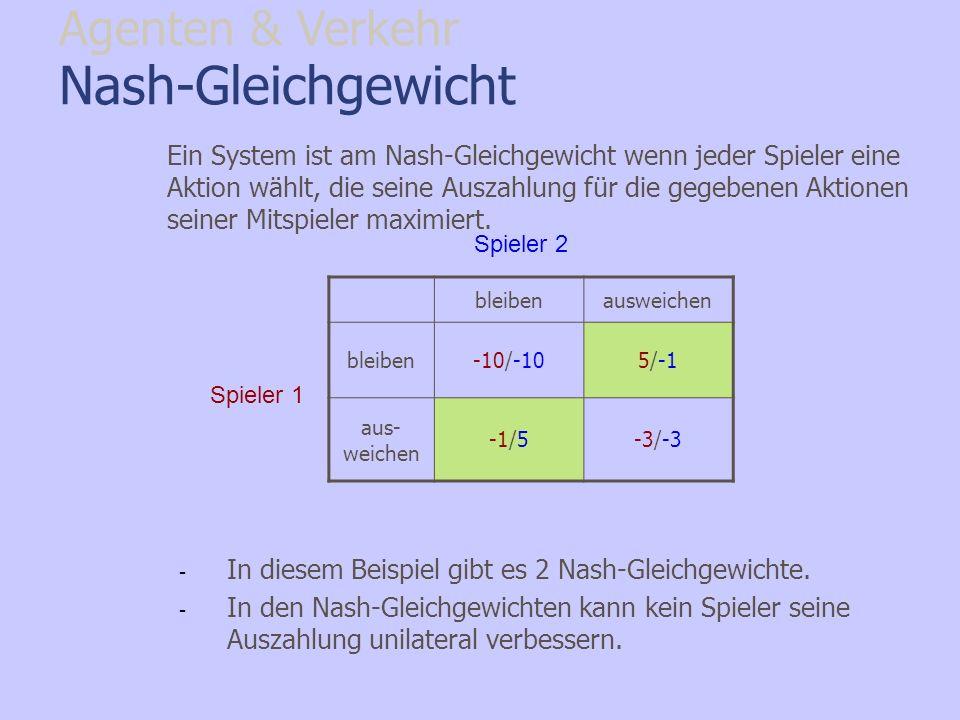 Nash-Gleichgewicht Agenten & Verkehr