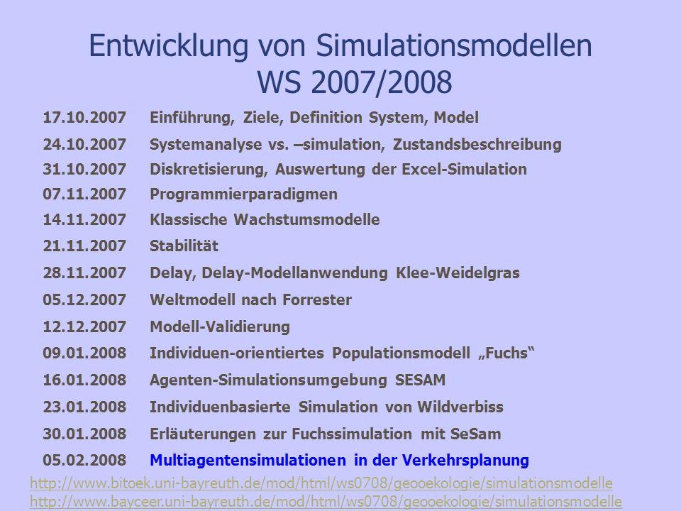 Entwicklung von Simulationsmodellen WS 2007/2008