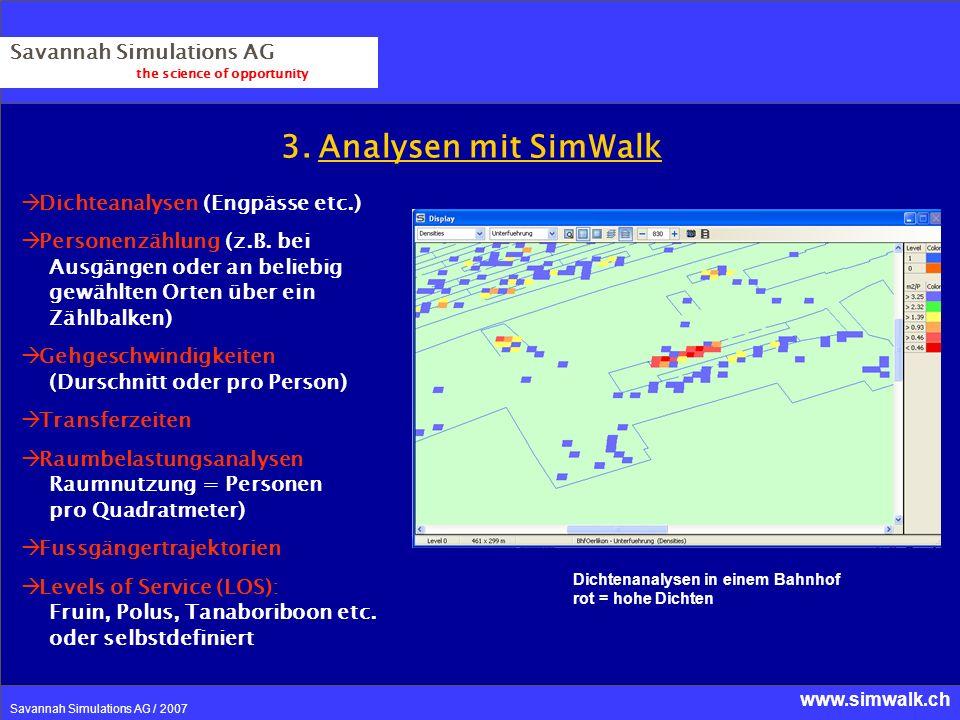 3. Analysen mit SimWalk Savannah Simulations AG