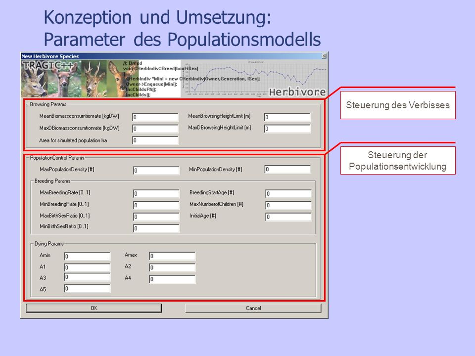 Konzeption und Umsetzung: Parameter des Populationsmodells