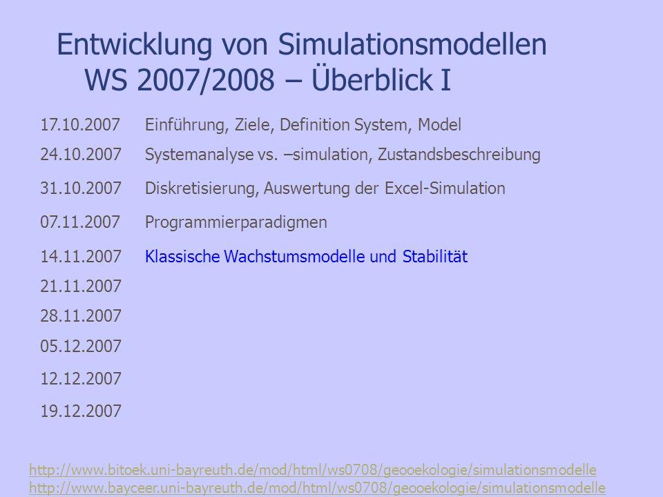Entwicklung von Simulationsmodellen WS 2007/2008 – Überblick I