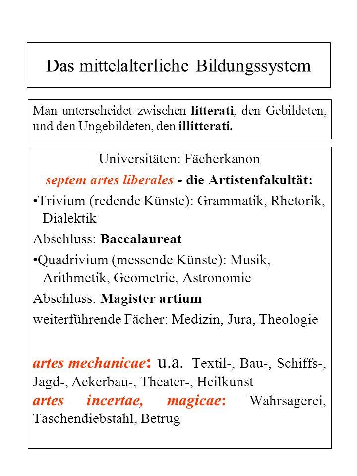 Das mittelalterliche Bildungssystem