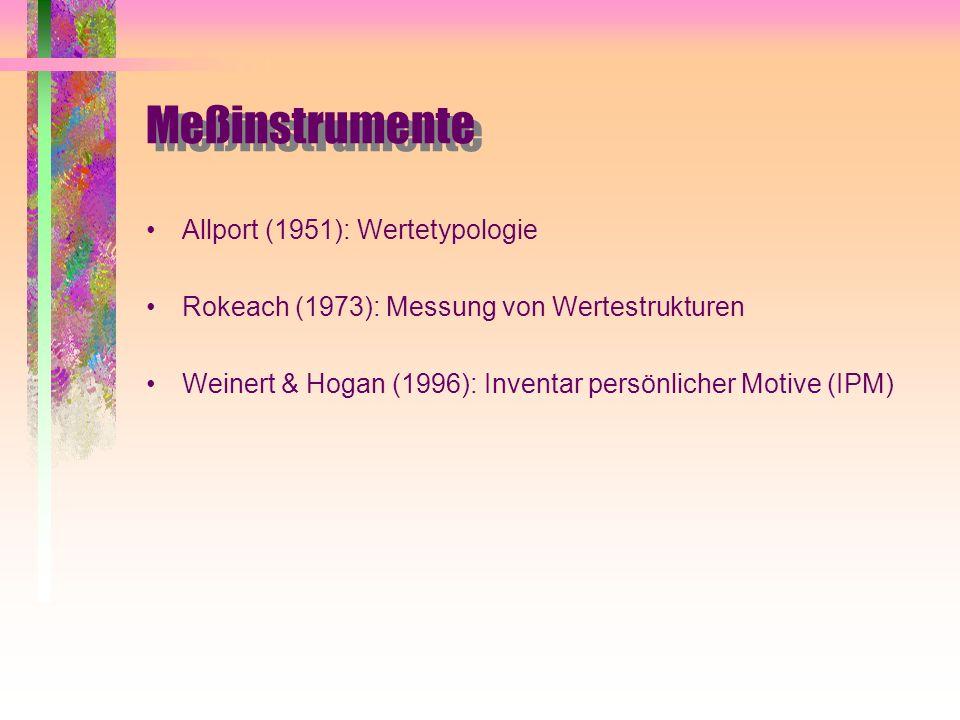 Meßinstrumente Allport (1951): Wertetypologie