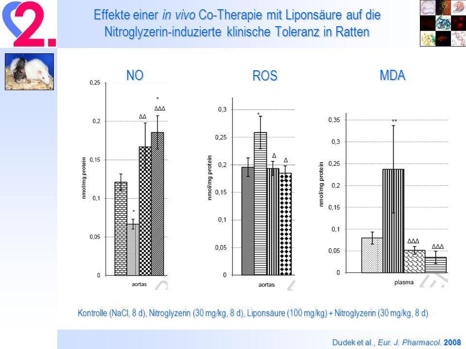 Effekte einer in vivo Co-Therapie mit Liponsäure auf die Nitroglyzerin-induzierte klinische Toleranz in Ratten