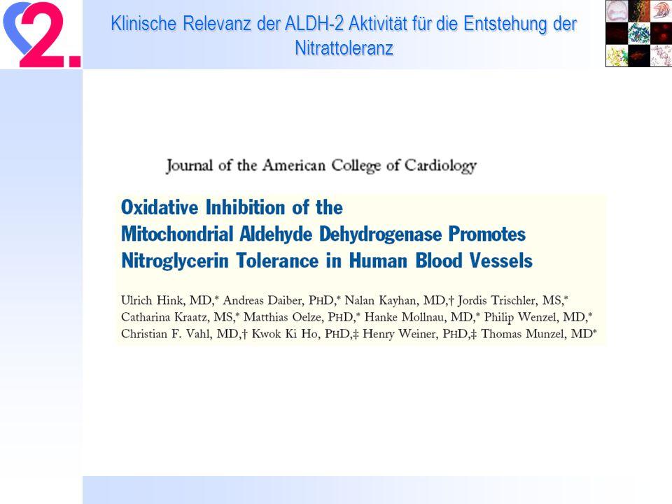 Klinische Relevanz der ALDH-2 Aktivität für die Entstehung der Nitrattoleranz