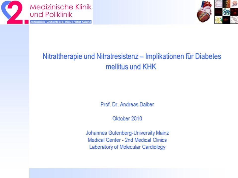 Nitrattherapie und Nitratresistenz – Implikationen für Diabetes mellitus und KHK