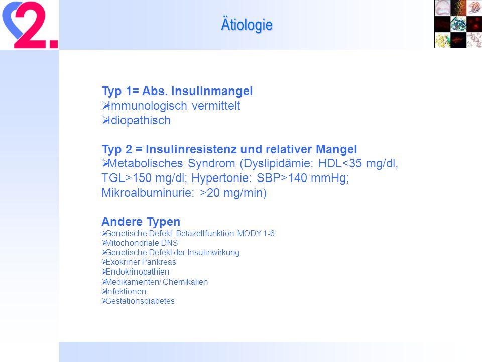 Ätiologie Typ 1= Abs. Insulinmangel Immunologisch vermittelt