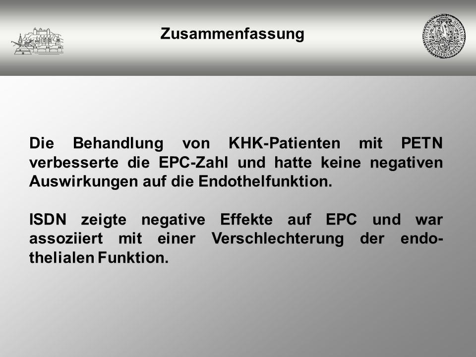 Zusammenfassung Die Behandlung von KHK-Patienten mit PETN verbesserte die EPC-Zahl und hatte keine negativen Auswirkungen auf die Endothelfunktion.