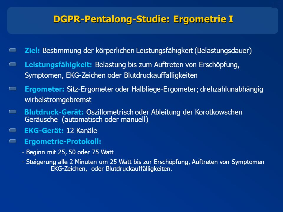 DGPR-Pentalong-Studie: Ergometrie I
