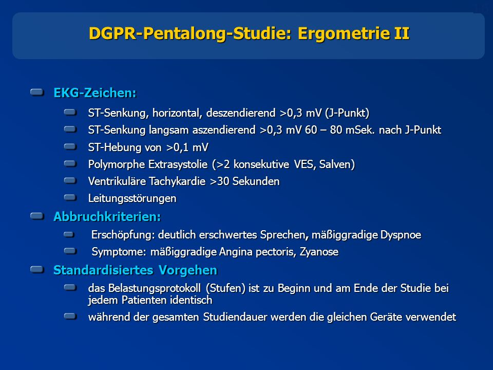 DGPR-Pentalong-Studie: Ergometrie II