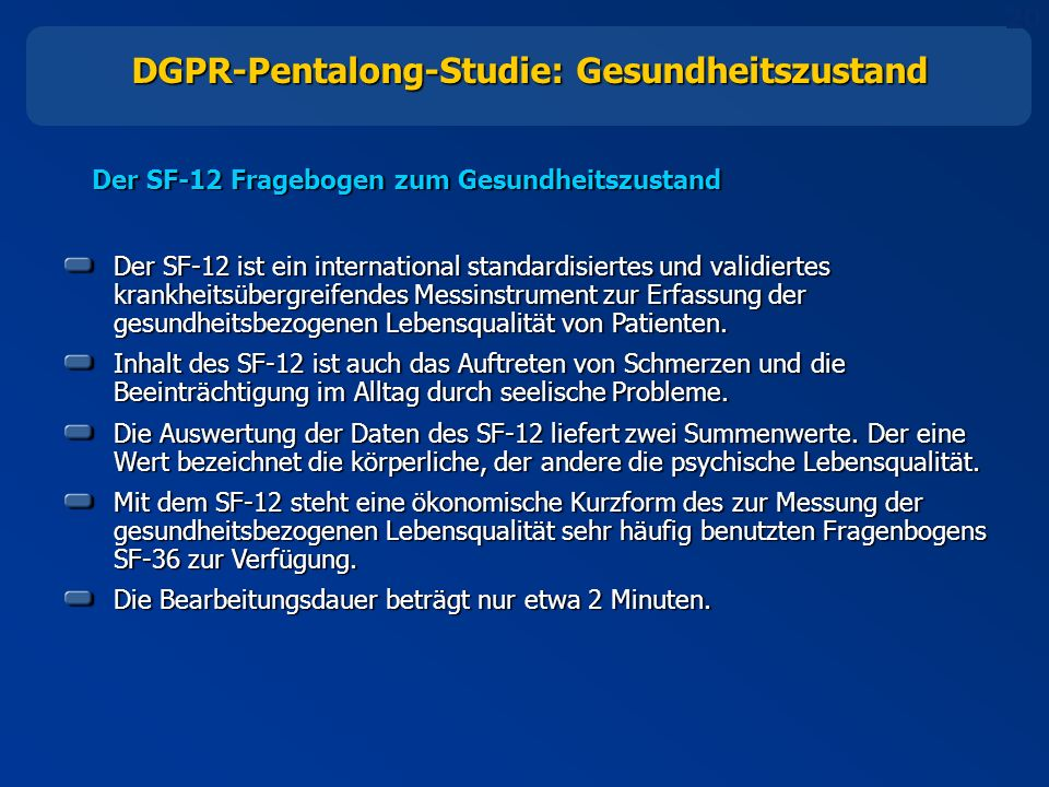 DGPR-Pentalong-Studie: Gesundheitszustand