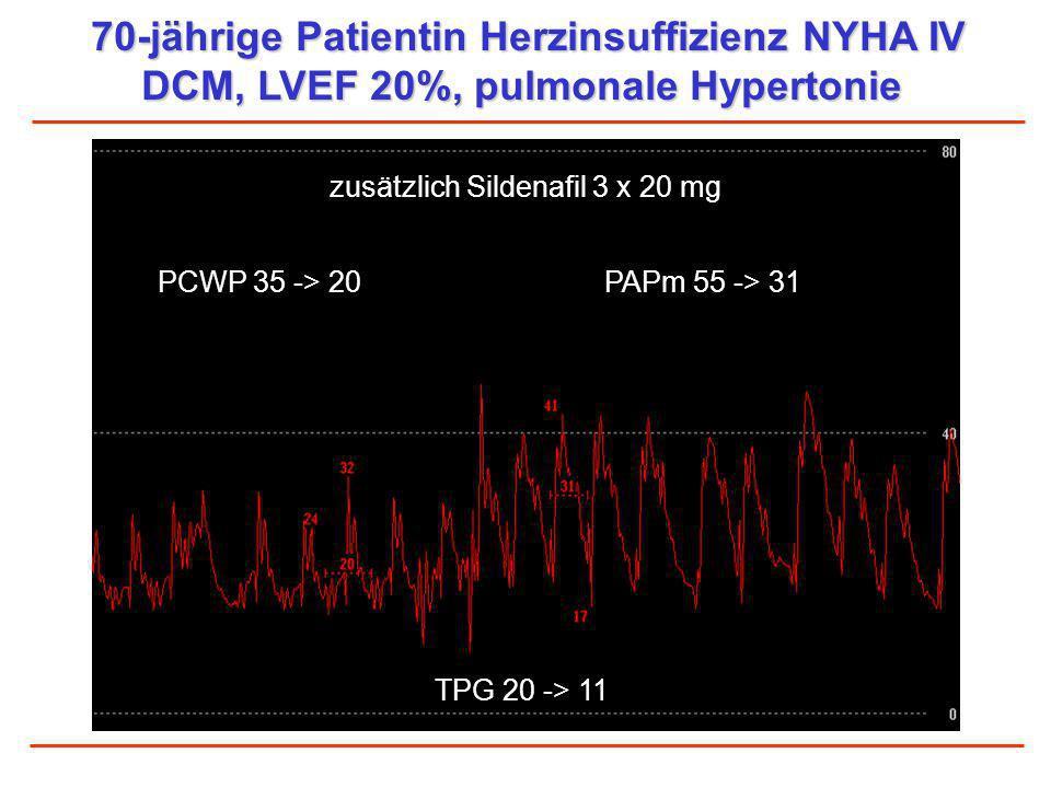 70-jährige Patientin Herzinsuffizienz NYHA IV