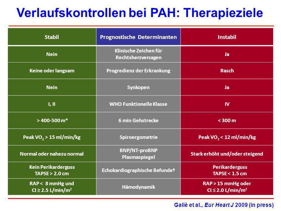 Verlaufskontrollen bei PAH: Therapieziele