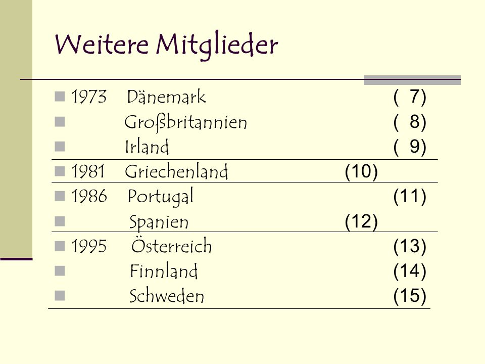 Weitere Mitglieder 1973 Dänemark ( 7) Großbritannien ( 8) Irland ( 9)